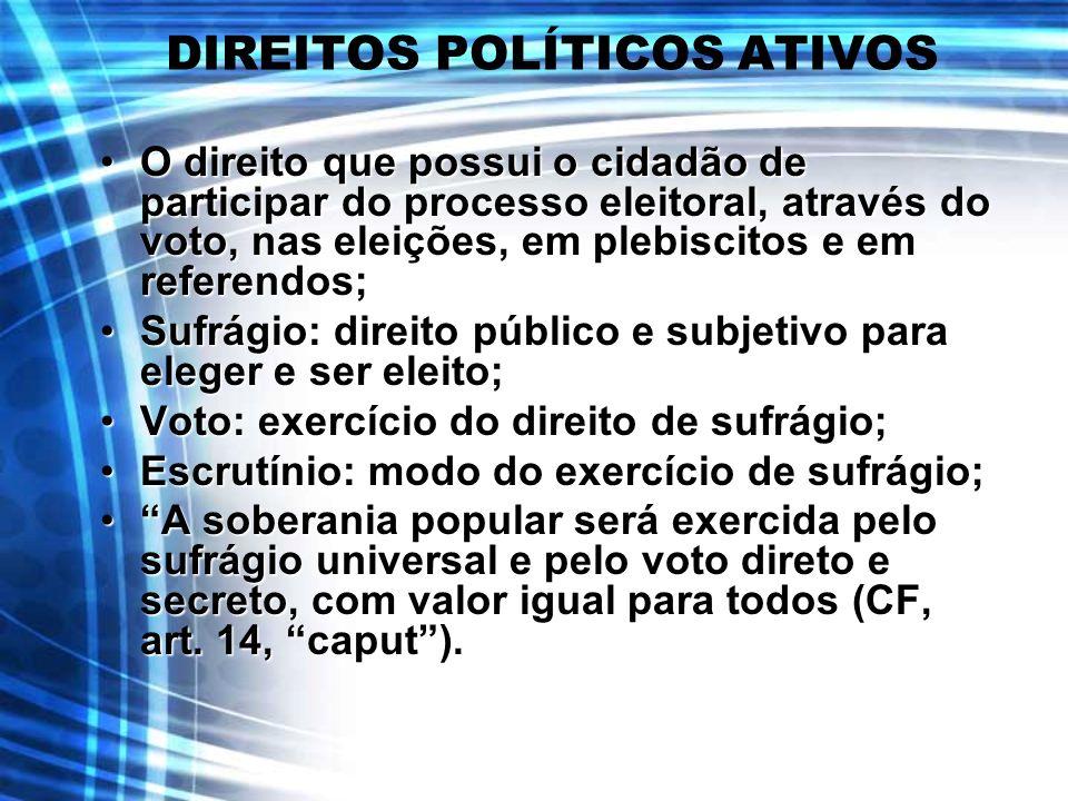 DIREITOS POLÍTICOS ATIVOS O direito que possui o cidadão de participar do processo eleitoral, através do voto, nas eleições, em plebiscitos e em refer