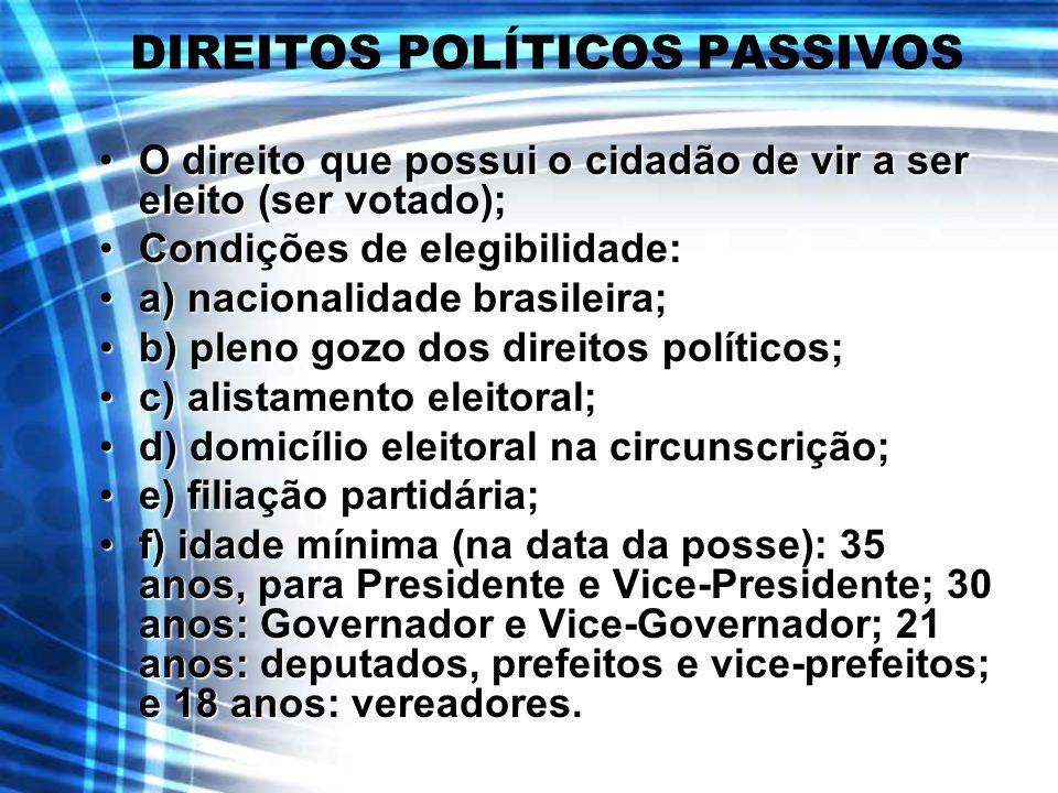 DIREITOS POLÍTICOS PASSIVOS O direito que possui o cidadão de vir a ser eleito (ser votado);O direito que possui o cidadão de vir a ser eleito (ser vo