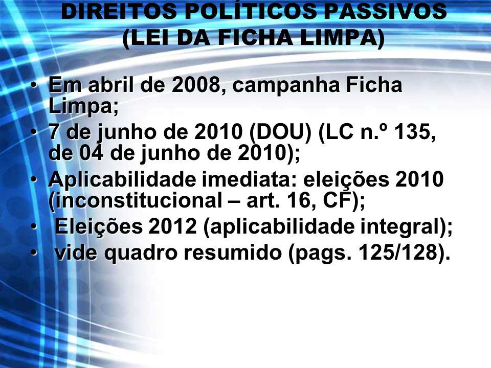 DIREITOS POLÍTICOS PASSIVOS (LEI DA FICHA LIMPA) Em abril de 2008, campanha Ficha Limpa;Em abril de 2008, campanha Ficha Limpa; 7 de junho de 2010 (DO