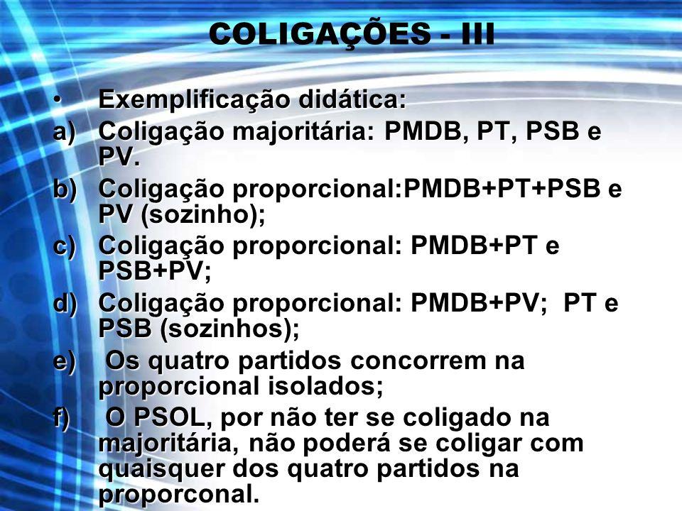 COLIGAÇÕES - III Exemplificação didática:Exemplificação didática: a)Coligação majoritária: PMDB, PT, PSB e PV. b)Coligação proporcional:PMDB+PT+PSB e