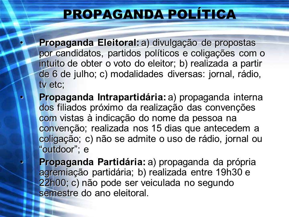 PROPAGANDA POLÍTICA Propaganda Eleitoral: a) divulgação de propostas por candidatos, partidos políticos e coligações com o intuito de obter o voto do