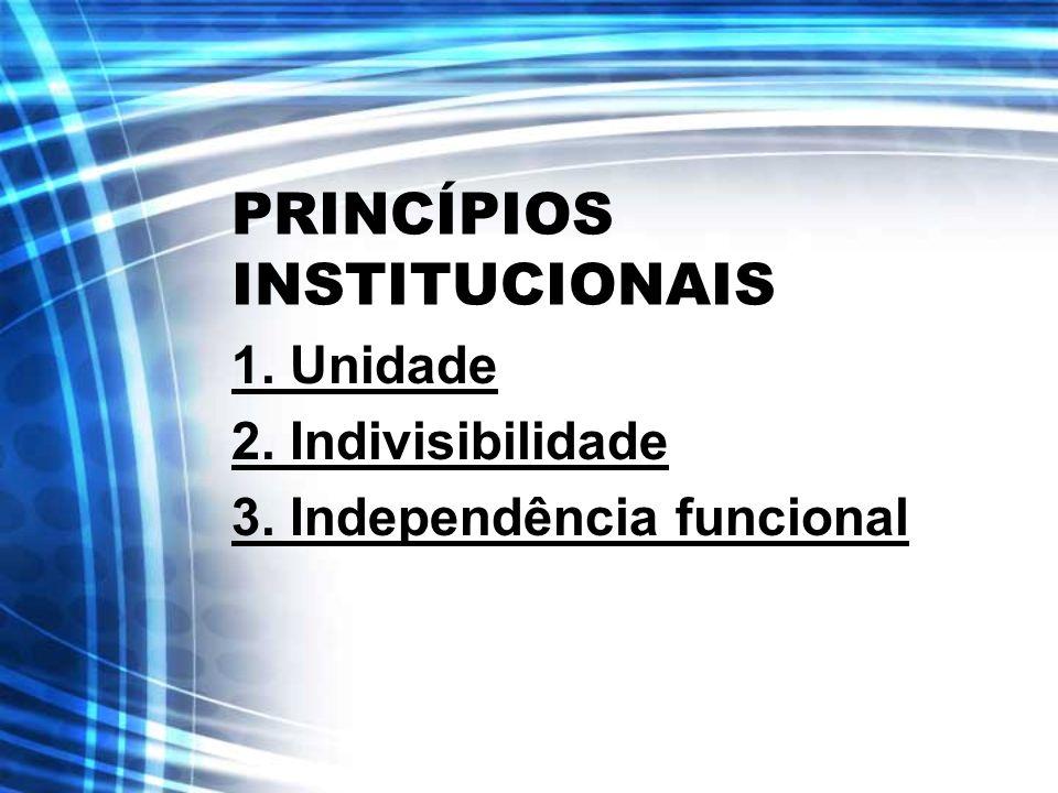 PRINCÍPIOS INSTITUCIONAIS 1. Unidade 2. Indivisibilidade 3. Independência funcional