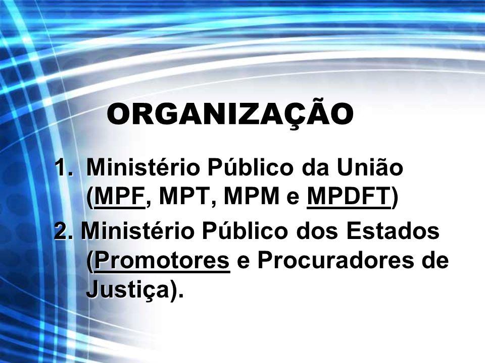 ORGANIZAÇÃO 1.Ministério Público da União (MPF, MPT, MPM e MPDFT) 2. Ministério Público dos Estados (Promotores e Procuradores de Justiça).
