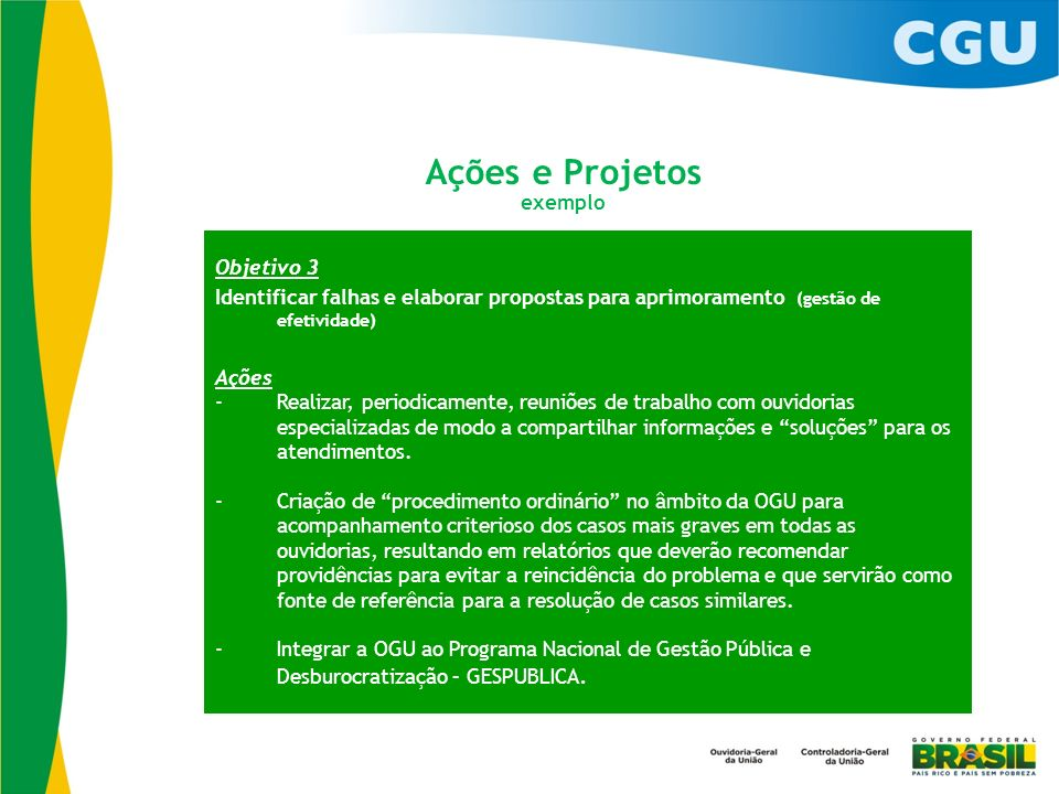 Objetivo 3 Identificar falhas e elaborar propostas para aprimoramento (gestão de efetividade) Ações -Realizar, periodicamente, reuniões de trabalho co