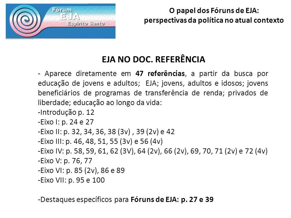 O papel dos Fóruns de EJA: perspectivas da política no atual contexto EJA NO DOC. REFERÊNCIA - Aparece diretamente em 47 referências, a partir da busc