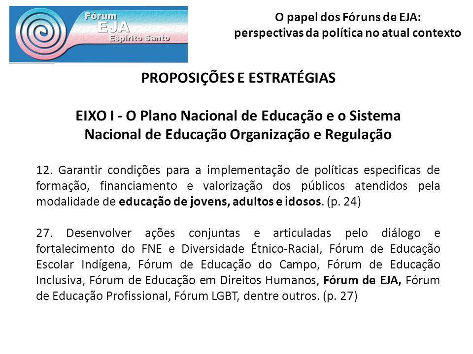 O papel dos Fóruns de EJA: perspectivas da política no atual contexto PROPOSIÇÕES E ESTRATÉGIAS EIXO I - O Plano Nacional de Educação e o Sistema Naci