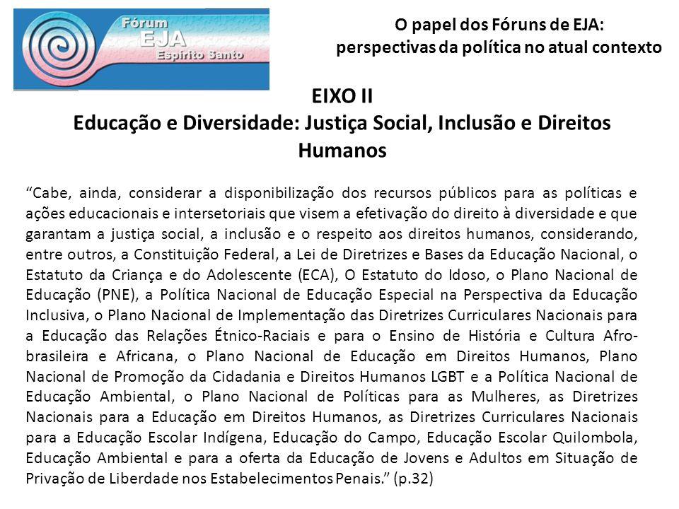 O papel dos Fóruns de EJA: perspectivas da política no atual contexto EIXO II Educação e Diversidade: Justiça Social, Inclusão e Direitos Humanos Cabe