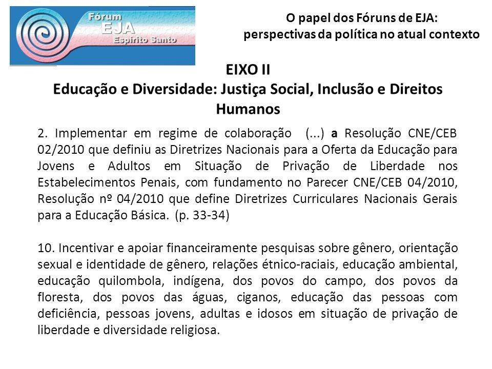 O papel dos Fóruns de EJA: perspectivas da política no atual contexto EIXO II Educação e Diversidade: Justiça Social, Inclusão e Direitos Humanos 2. I