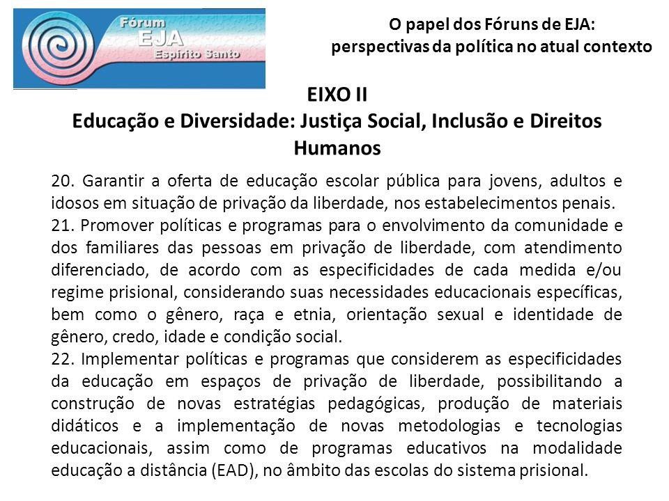 O papel dos Fóruns de EJA: perspectivas da política no atual contexto EIXO II Educação e Diversidade: Justiça Social, Inclusão e Direitos Humanos 20.