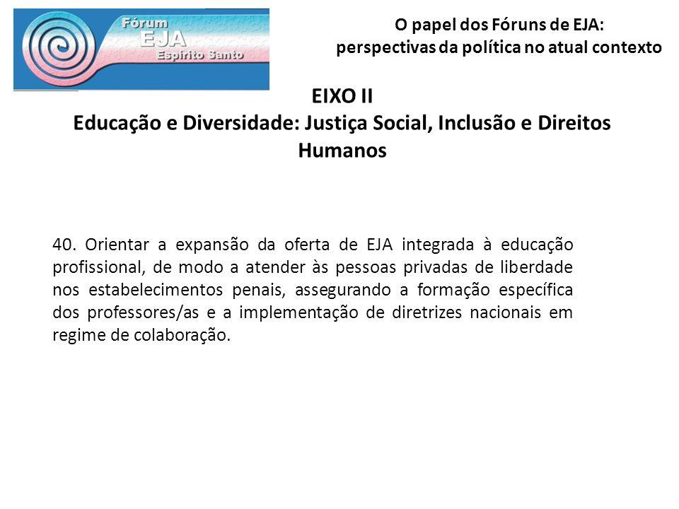 O papel dos Fóruns de EJA: perspectivas da política no atual contexto EIXO II Educação e Diversidade: Justiça Social, Inclusão e Direitos Humanos 40.