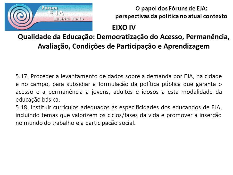 O papel dos Fóruns de EJA: perspectivas da política no atual contexto EIXO IV Qualidade da Educação: Democratização do Acesso, Permanência, Avaliação,