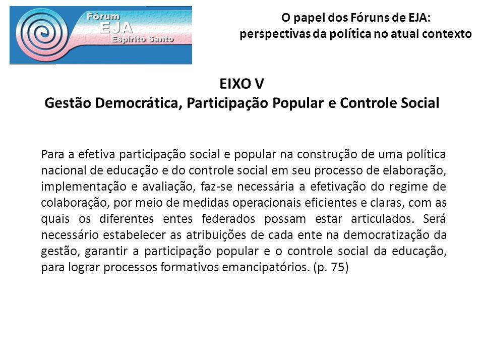 O papel dos Fóruns de EJA: perspectivas da política no atual contexto EIXO V Gestão Democrática, Participação Popular e Controle Social Para a efetiva