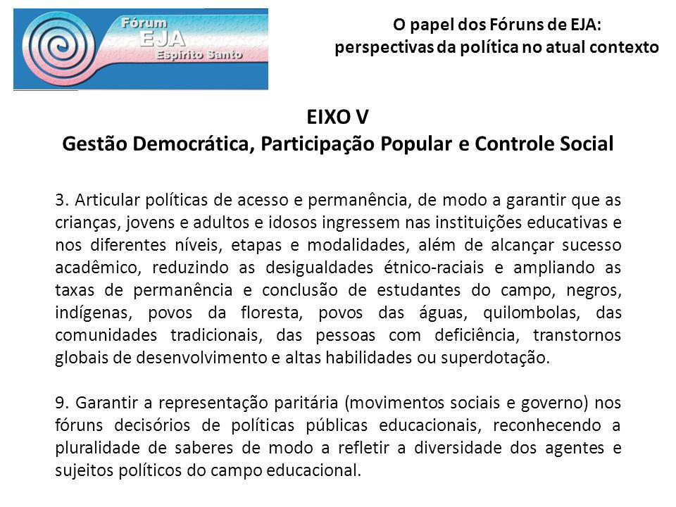 O papel dos Fóruns de EJA: perspectivas da política no atual contexto EIXO V Gestão Democrática, Participação Popular e Controle Social 3. Articular p