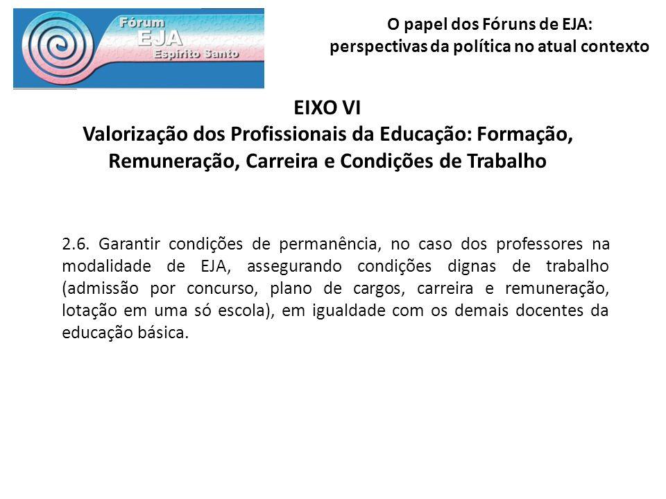 O papel dos Fóruns de EJA: perspectivas da política no atual contexto EIXO VI Valorização dos Profissionais da Educação: Formação, Remuneração, Carrei