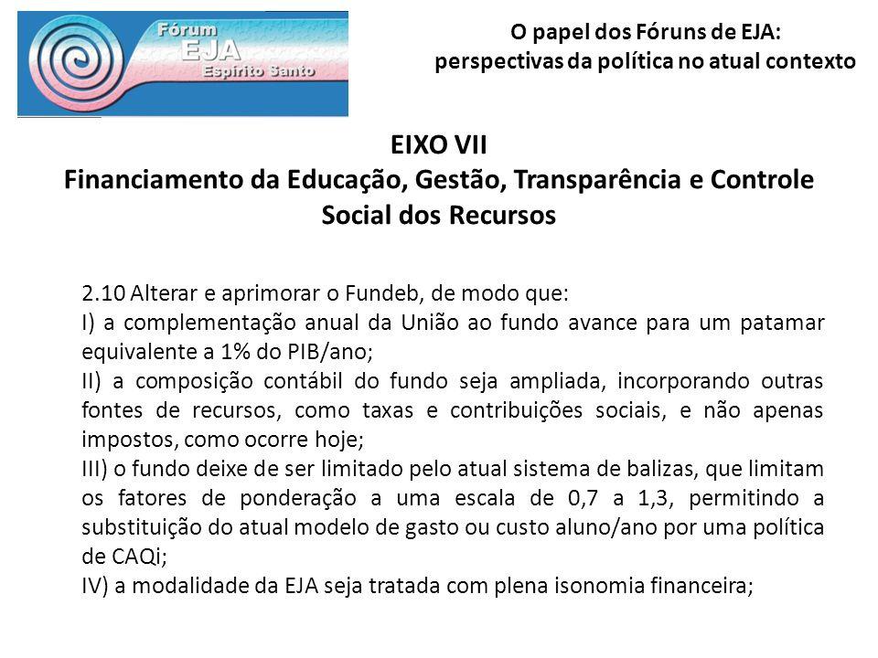 O papel dos Fóruns de EJA: perspectivas da política no atual contexto EIXO VII Financiamento da Educação, Gestão, Transparência e Controle Social dos