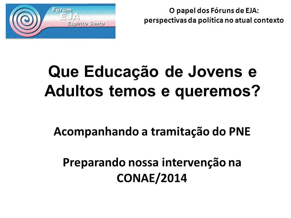 O papel dos Fóruns de EJA: perspectivas da política no atual contexto Que Educação de Jovens e Adultos temos e queremos? Acompanhando a tramitação do
