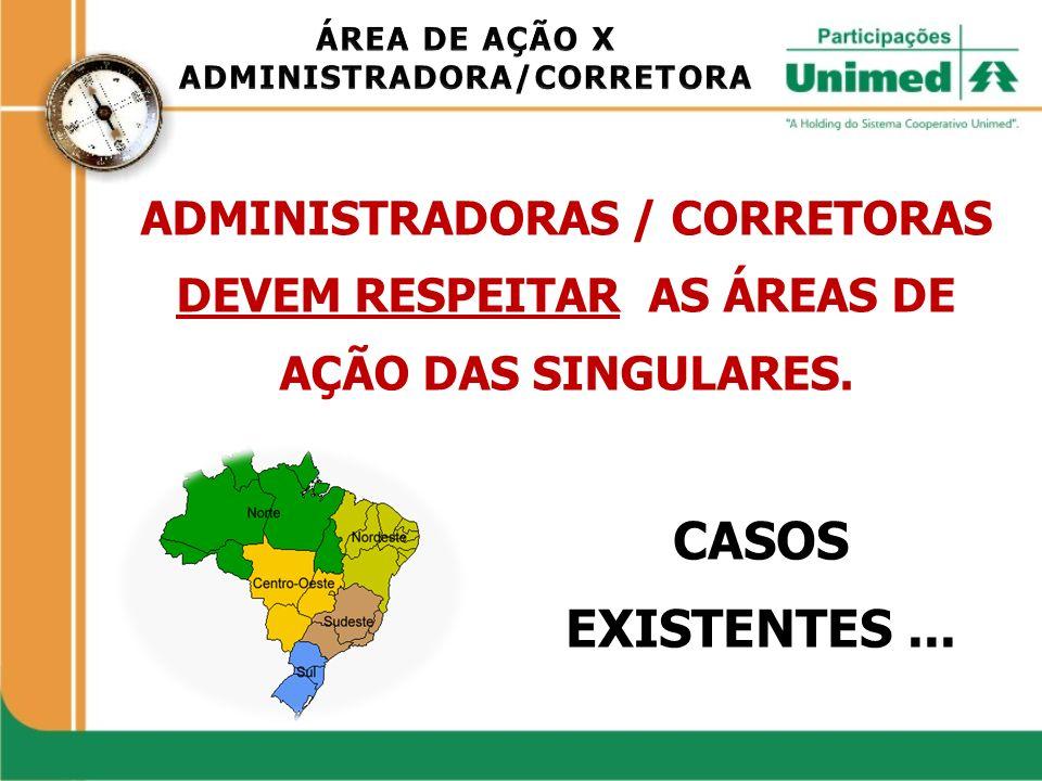 ADMINISTRADORAS / CORRETORAS DEVEM RESPEITAR AS ÁREAS DE AÇÃO DAS SINGULARES. CASOS EXISTENTES...