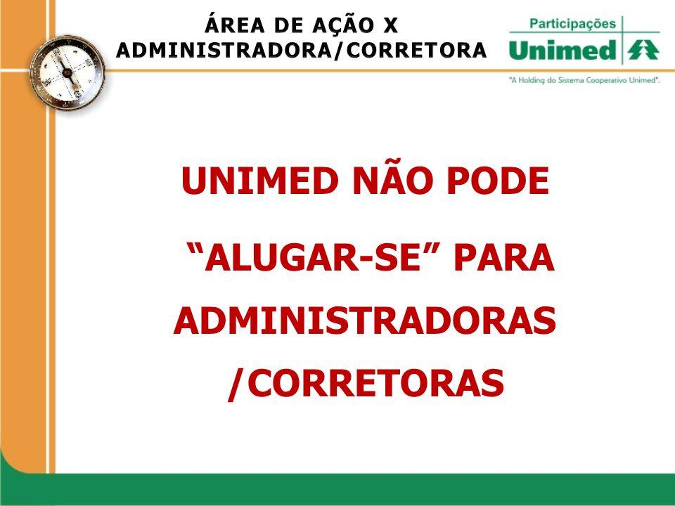 UNIMED NÃO PODE ALUGAR-SE PARA ADMINISTRADORAS /CORRETORAS