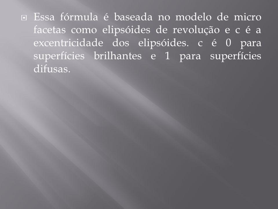 Essa fórmula é baseada no modelo de micro facetas como elipsóides de revolução e c é a excentricidade dos elipsóides. c é 0 para superfícies brilhante