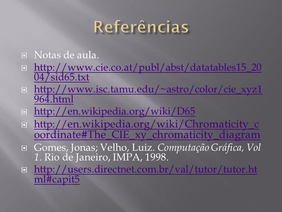Notas de aula. http://www.cie.co.at/publ/abst/datatables15_20 04/sid65.txt http://www.cie.co.at/publ/abst/datatables15_20 04/sid65.txt http://www.isc.