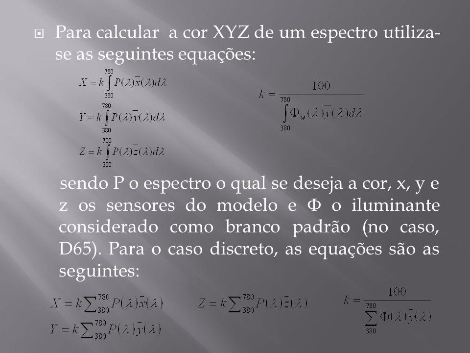 Para calcular a cor XYZ de um espectro utiliza- se as seguintes equações: sendo P o espectro o qual se deseja a cor, x, y e z os sensores do modelo e