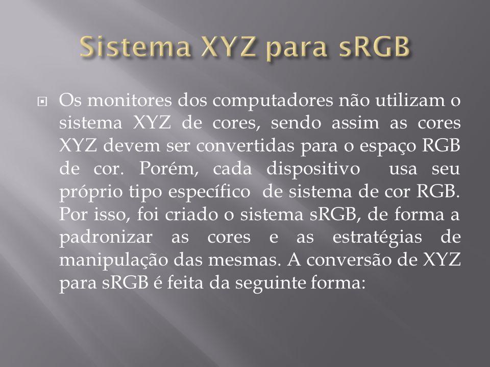 Os monitores dos computadores não utilizam o sistema XYZ de cores, sendo assim as cores XYZ devem ser convertidas para o espaço RGB de cor. Porém, cad