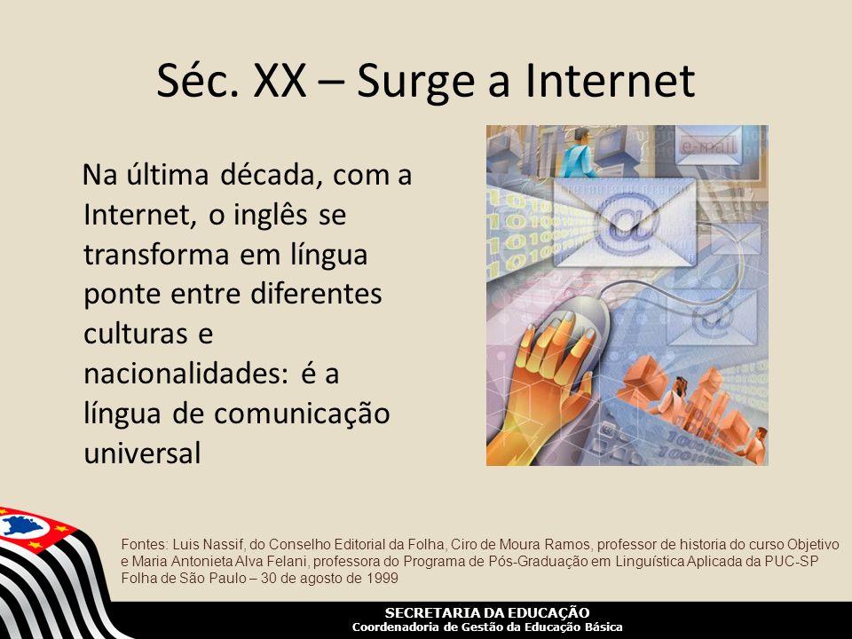 SECRETARIA DA EDUCAÇÃO Coordenadoria de Gestão da Educação Básica Séc. XX – Surge a Internet Na última década, com a Internet, o inglês se transforma