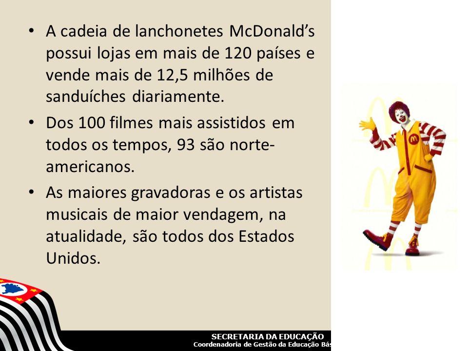 SECRETARIA DA EDUCAÇÃO Coordenadoria de Gestão da Educação Básica A cadeia de lanchonetes McDonalds possui lojas em mais de 120 países e vende mais de