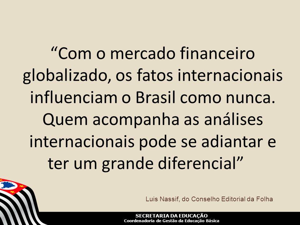 SECRETARIA DA EDUCAÇÃO Coordenadoria de Gestão da Educação Básica Com o mercado financeiro globalizado, os fatos internacionais influenciam o Brasil c