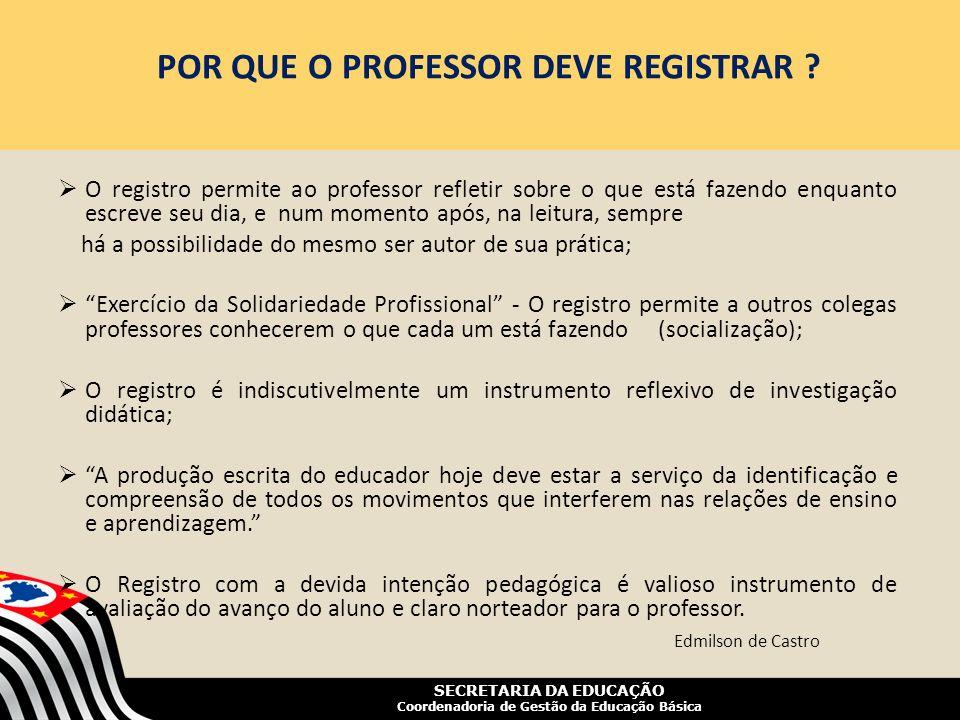 SECRETARIA DA EDUCAÇÃO Coordenadoria de Gestão da Educação Básica POR QUE O PROFESSOR DEVE REGISTRAR ? O registro permite ao professor refletir sobre