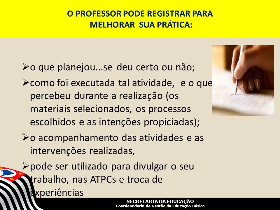 SECRETARIA DA EDUCAÇÃO Coordenadoria de Gestão da Educação Básica O PROFESSOR PODE REGISTRAR PARA MELHORAR SUA PRÁTICA: o que planejou...se deu certo