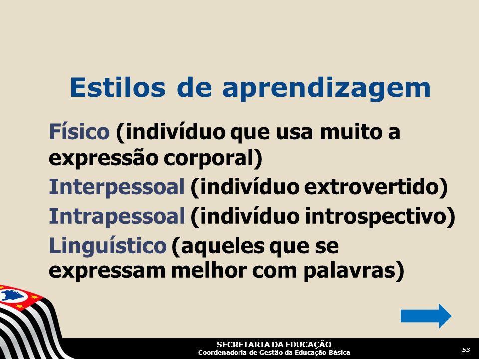 SECRETARIA DA EDUCAÇÃO Coordenadoria de Gestão da Educação Básica Físico (indivíduo que usa muito a expressão corporal) Interpessoal (indivíduo extrov