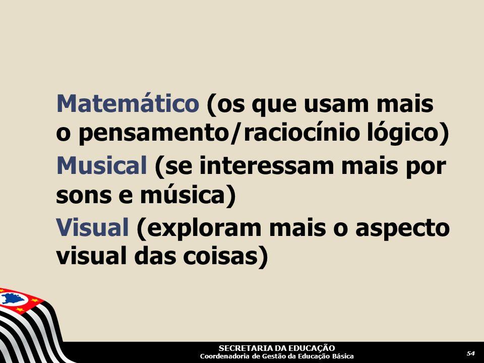 SECRETARIA DA EDUCAÇÃO Coordenadoria de Gestão da Educação Básica Matemático (os que usam mais o pensamento/raciocínio lógico) Musical (se interessam