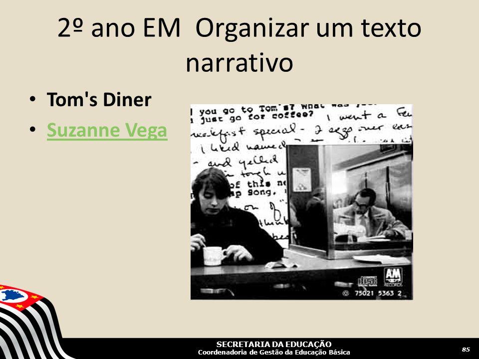 SECRETARIA DA EDUCAÇÃO Coordenadoria de Gestão da Educação Básica 2º ano EM Organizar um texto narrativo 85 Tom's Diner Suzanne Vega