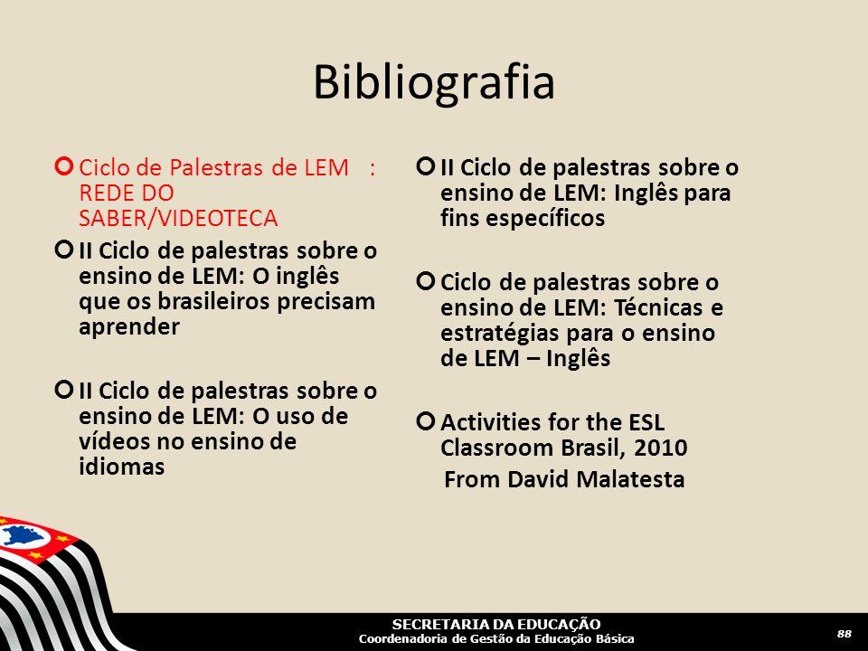 SECRETARIA DA EDUCAÇÃO Coordenadoria de Gestão da Educação Básica Bibliografia 88 Ciclo de Palestras de LEM : REDE DO SABER/VIDEOTECA II Ciclo de pale