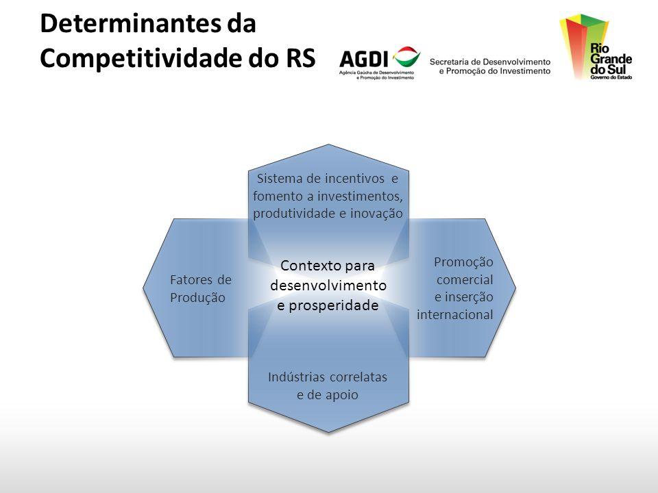 Determinantes da Competitividade do RS Fatores de Produção Promoção comercial e inserção internacional Indústrias correlatas e de apoio Sistema de incentivos e fomento a investimentos, produtividade e inovação Contexto para desenvolvimento e prosperidade