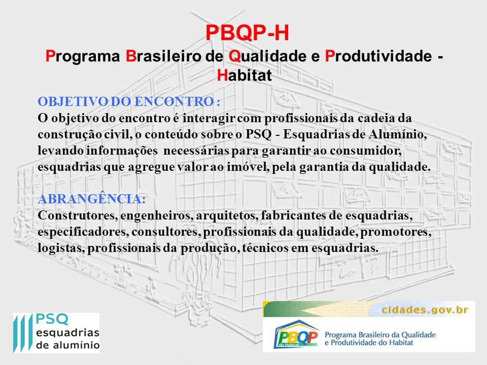 PBQP-H Programa Brasileiro de Qualidade e Produtividade - Habitat OBJETIVO DO ENCONTRO : O objetivo do encontro é interagir com profissionais da cadei