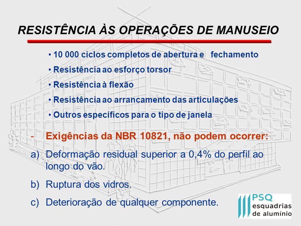RESISTÊNCIA ÀS OPERAÇÕES DE MANUSEIO 10 000 ciclos completos de abertura e fechamento Resistência ao esforço torsor Resistência à flexão Resistência a