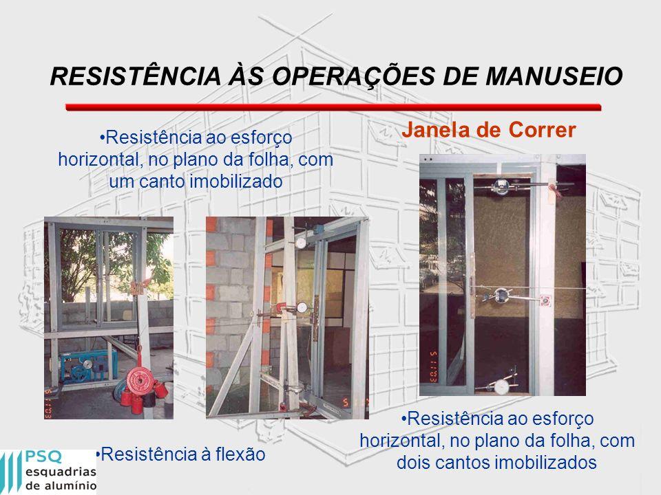 RESISTÊNCIA ÀS OPERAÇÕES DE MANUSEIO Janela de Correr Resistência ao esforço horizontal, no plano da folha, com um canto imobilizado Resistência à fle