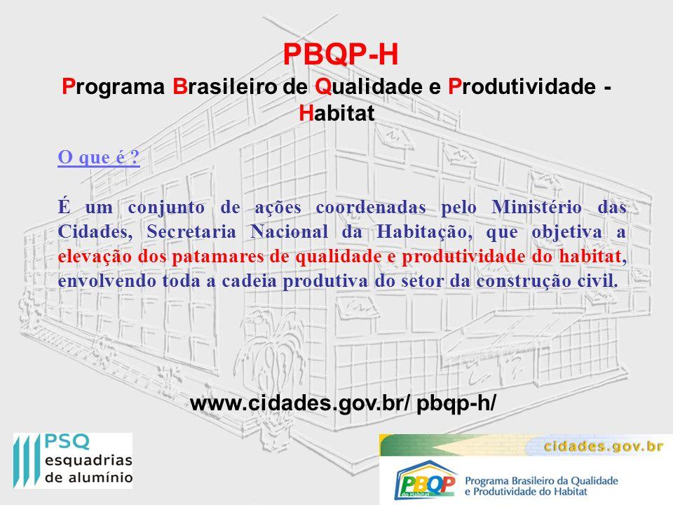 PBQP-H Programa Brasileiro de Qualidade e Produtividade - Habitat O que é ? É um conjunto de ações coordenadas pelo Ministério das Cidades, Secretaria
