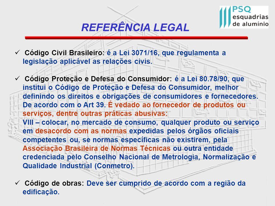 REFERÊNCIA LEGAL Código Civil Brasileiro: é a Lei 3071/16, que regulamenta a legislação aplicável as relações civis. Código Proteção e Defesa do Consu