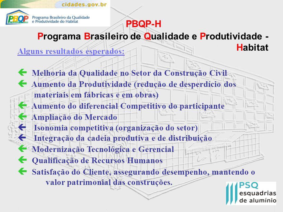PBQP-H Programa Brasileiro de Qualidade e Produtividade - Habitat Alguns resultados esperados: Melhoria da Qualidade no Setor da Construção Civil Aume