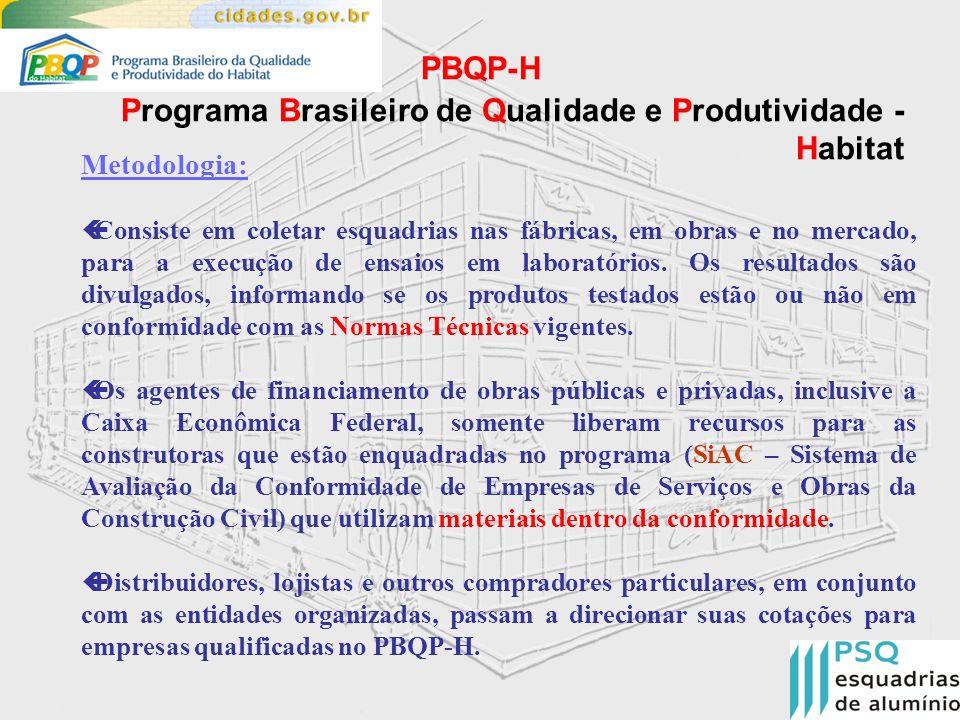 PBQP-H Programa Brasileiro de Qualidade e Produtividade - Habitat Áreas do PBQP-Habitat Materiais : SiMaC (Sistema de Qualificação de Materiais, Componentes e Sistemas Construtivos) – voltado para Indústrias Projeto execução em obra : SiAC (Sistema de Avaliação da Conformidade de Empresas de Serviços e Obras da Construção Civil ) – voltado para Construtoras, Escritórios de Arquitetura e Engenharia Os SiMaC e SiAC sob coordenação do Ministério das Cidades são gerenciados por Organizações Setoriais, Associações ou Sindicatos representativos do segmento, sendo que para cada material/serviço há apenas um PSQ.