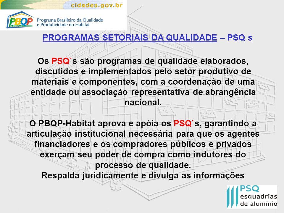 PROGRAMAS SETORIAIS DA QUALIDADE – PSQ s Os PSQ`s são programas de qualidade elaborados, discutidos e implementados pelo setor produtivo de materiais