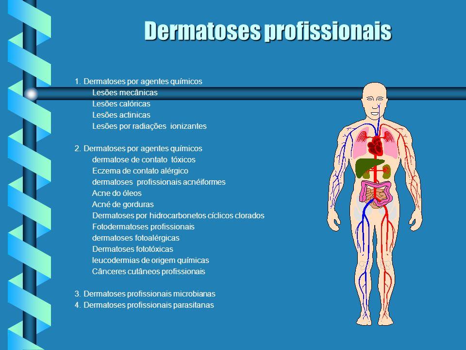 1. Dermatoses por agentes químicos Lesões mecânicas Lesões calóricas Lesões actinicas Lesões por radiações ionizantes 2. Dermatoses por agentes químic