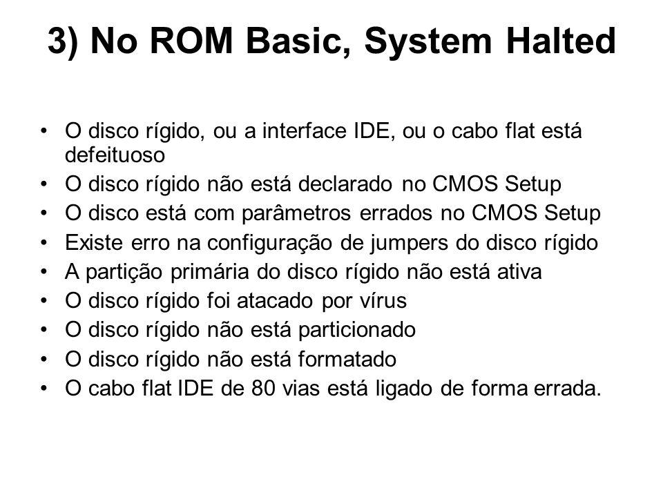 3) No ROM Basic, System Halted O disco rígido, ou a interface IDE, ou o cabo flat está defeituoso O disco rígido não está declarado no CMOS Setup O di
