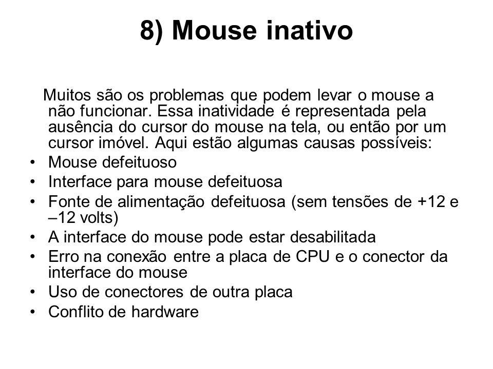 8) Mouse inativo Muitos são os problemas que podem levar o mouse a não funcionar. Essa inatividade é representada pela ausência do cursor do mouse na