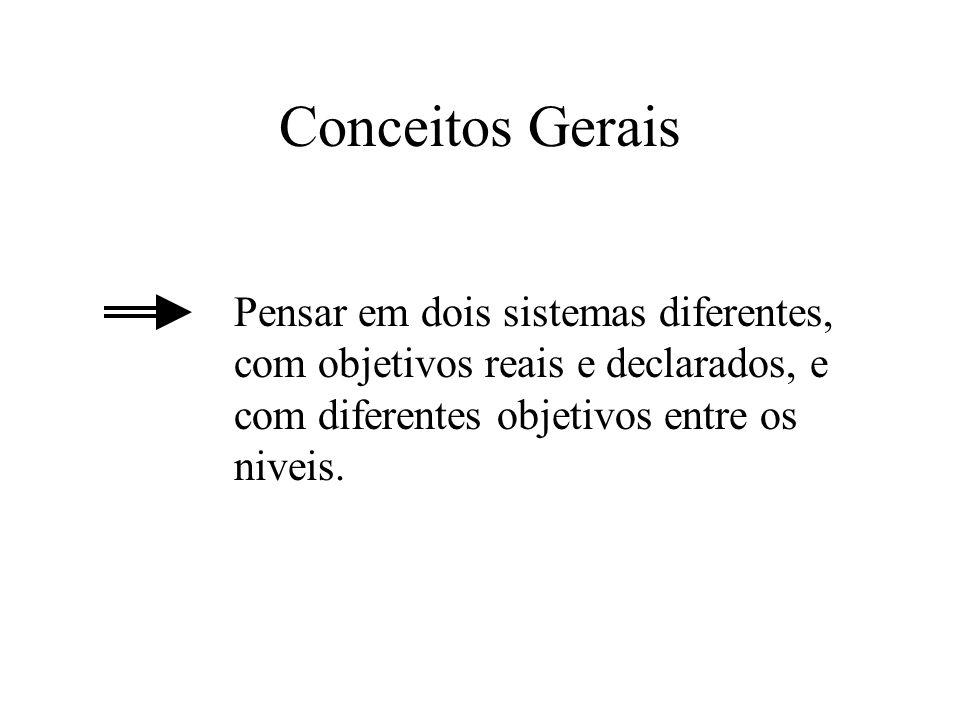 Conceitos Gerais Pensar em dois sistemas diferentes, com objetivos reais e declarados, e com diferentes objetivos entre os niveis.