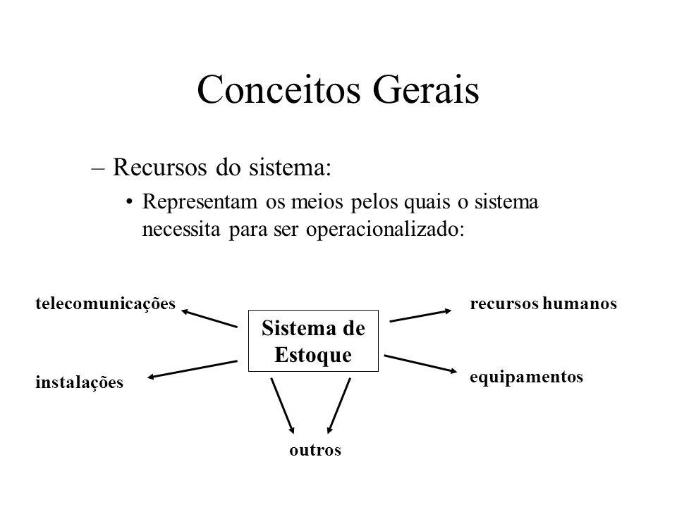 –Recursos do sistema: Representam os meios pelos quais o sistema necessita para ser operacionalizado: Conceitos Gerais Sistema de Estoque recursos humanos equipamentos outros instalações telecomunicações