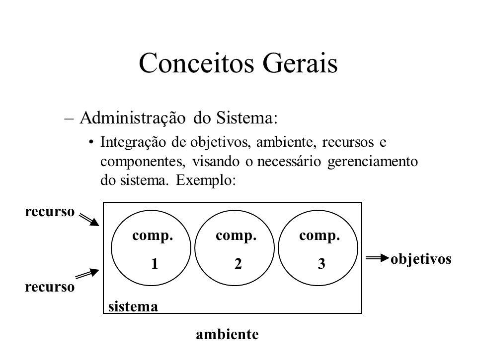 –Administração do Sistema: Integração de objetivos, ambiente, recursos e componentes, visando o necessário gerenciamento do sistema.